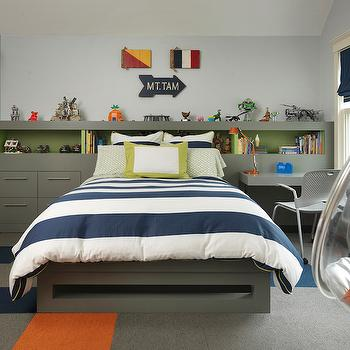 LDa Architects - boy's rooms - carpet tile rug, gray orange and navy carpet tile, carpet tiled rug, navy rugby stripe bedding, navy and white striped duvet, green bordered pillow, navy roman shade, light blue walls, hanging bubble chair, acrylic hanging bubble chair, gray platform bed, built in headboard, storage headboard, kids headboard ideas, wall length storage headboard, gray desk chair, headboard with drawers, headboard with desk, floating desk, signal flag signs, wooden signal flag, wooden arrow, kids storage headboard, built in kids headboard, kids headboard ideas, bubble chair, hanging chair, bookcase headboard, bookcase as headboard, bookcase doubling as headboard, kids carpet tiles, gray and orange carpet tiles, navy and gray carpet tiles, ruby stripe duvet, navy rugby stripe duvet, built in desk, gray desk, kids desk, gray built in desk, floating desk, gray floating desk, wall length headboard, wall to wall headboard, headboard with desk, navy roman shade, kids desks,