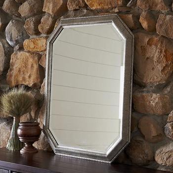 Mirrors - Birch Lane Allerton Mirror   Birch Lane - antiqued silver mirror, pentagonal mirror, octagon shaped mirror,