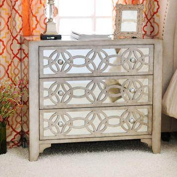 Libby Silver Mirrored 3 Drawer Chest Kirklands