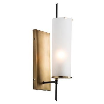 Lighting - Arteriors Stefan Wall Sconce I Zinc Door - vintage brass wall sconce, brass and frosted glass wall sconce, vintage style brass wall sconce,