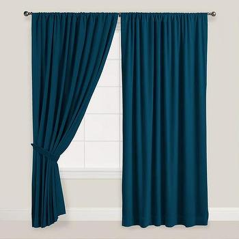 Window Treatments - Night Blue Velvet Dual Tab Top Curtain | World Market - teal blue drapes, teal velvet drapes, peacock blue curtains, peacock blue velvet curtains,