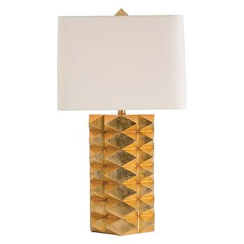 Lighting - Arteriors Jackson Table Lamp I Zinc Door - geometric gold lamp, spikey gold table lamp, spiked gold table lamp, modern gold table lamp, modern gold leaf table lamp,