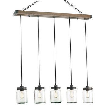 Lighting - Currey & Company Firefly Rectangular Chandelier I Zinc Door - mason jar chandelier, mason jar pendant, jam jar pendant, vintage glass jar chandelier,