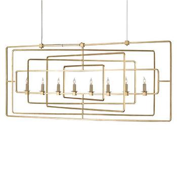 Lighting - Currey & Company Metro Rectangular Chandelier I Zinc Door - rectangular gold chandelier, gold geometric chandelier, retro shaped gold chandelier, modern gold leafed chandelier,