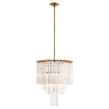 Lighting - Arteriors Lechtford Chandelier I Zinc Door - glass rod chandelier, tiered glass rod chandelier, antiqued brass glass rod chandelier,