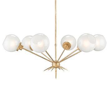 Lighting - Currey & Company Shelly Chandelier I Zinc Door - gold glass orb chandelier, glass globe chandelier, gold leafed orb chandelier,