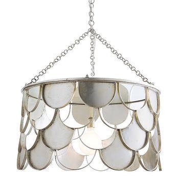 Lighting - Arteriors Lira Pendant I Zinc Door - scalloped iron pendant light, silver fish scale pendant light, silver scale drum pendant,
