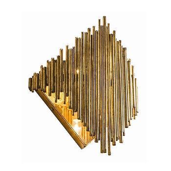Lighting - Arteriors Prescott Wall Sconce I Zinc Door - sculptural brass wall sconce, brass mirrored wall sconce, antiqued mirrored wall sconce,