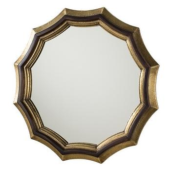 Mirrors - Arteriors Kass Mirror I Zinc Door - scalloped brass wall mirror, brass and walnut mirror, scalloped brass and black mirror,