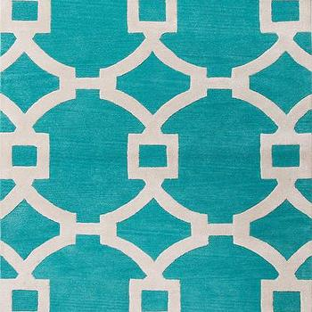 Rugs - City Collection Regency Rug in Ceramic & White design by Jaipur I Burke Decor - turquoise geometric rug, turquoise geometric circles rug, turquoise linked circles rug,