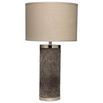 Lighting - Jamie Young Column Grey Hide Table Lamp Base I Zinc Door - hide table lamp, cowhide table lamp, gray hide table lamp, modern hide lamp,