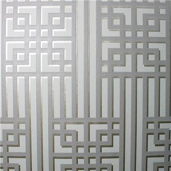 Wallpaper - Graham & Brown Steve Leung Bao Gray Wallpaper I Zinc Door - gray geometric wallpaper, gray fretwork wallpaper, gray metallic wallpaper,