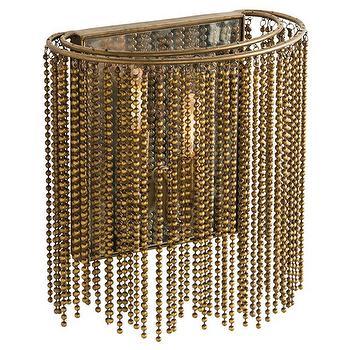 Lighting - Arteriors Maxim Wall Sconce I Zinc Door - brass bead wall sconce, brass chain wall sconce, beaded brass wall sconce,