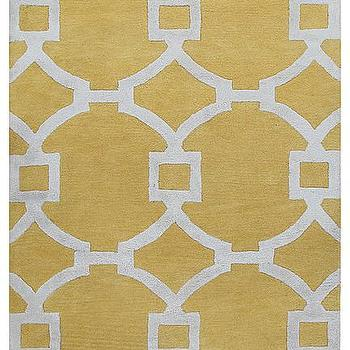 Rugs - City Collection Regency Rug in Bright Yellow & White design by Jaipur I Burke Decor - yellow geometric rug, yellow geometric circles rug, yellow linked circles rug,