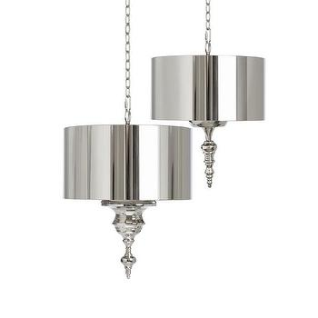 Lighting - Hanging Finial with Pendant Kit and Chain design by Barbara Cosgrove I Burke Decor - shiny nickel pendant, nickel hanging pendant, nickel finial pendant,