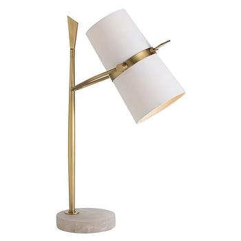 Lighting - Arteriors Yasmin Antique Brass Table Lamp I Zinc Door - brass and marble table lamp, retro brass task lamp, brass lamp with marble base,