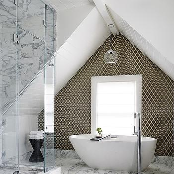 Feldman Architecture - bathrooms - master bathroom, alcove, bathroom alcove, bathtub alcove, vaulted alcove, vaulted bathtub alcove, vaulted tub alcove, vaulted bathroom alcove, tiled accent wall, bathroom accent wall, taupe arabesque tiles, bathroom arabesque tiles, egg shaped bathtub, gooseneck tub fuller, floor mounted tub filler, white and gray marble, white and gray marble tiled floor, seamless glass shower, white and gray marble shower surround,