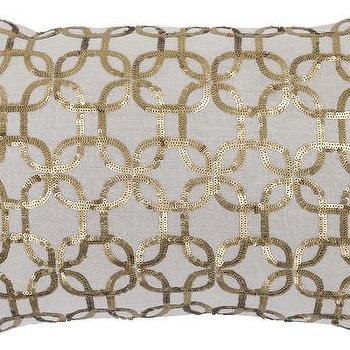Pillows - Dore Gold Pillow design by Villa Home | Burke Decor - geometric sequinned pillow, gold geometric sequin pillow, patterned gold sequin pillow,