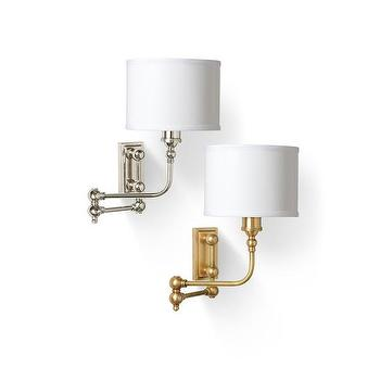 Lighting - Sconce with Swing Arm design by Barbara Cosgrove I Burke Decor - nickel swing arm wall sconce, brass swing arm wall sconce, swing arm wall lamp,