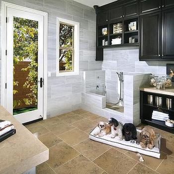 Standard Pacific Homes - laundry/mud rooms - dog mudroom, dog friendly mudroom, mudroom for dogs, dog shower, dog shower ideas, dog shower ideas, black cabinets, black mudroom cabinets, cream countertops, gray stone backsplash, mudroom cubbies, dog room, dog room ideas,