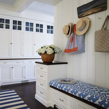 Built In Mudroom Bench, Cottage, laundry room, Lynn Morgan Design
