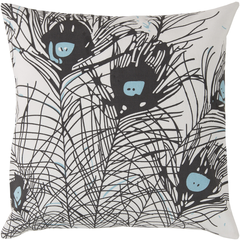Pillows - Peacock Feathers Pillow design by Florence Broadhurst I Burke Decor - black peacock feather pillow, contemporary peacock feather pillow, peacock feather print pillow, peacock feather pillow,