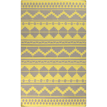 Rugs - Frontier Lime & Grey Rug design by Surya - yellow and gray rug, tribal style rug, lime yellow and gray rug, contemporary tribal rug,