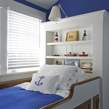Lynn Morgan Design - boy's rooms - berth, nautical room, nautical kids room, nautical boys room, built in bed, nautical bed, nautical kids bed, nautical built in bed, white and blue bedding, anchor pillow, bed under window, bookcase as headboard, built in bookcase, bookcase used as headboard,