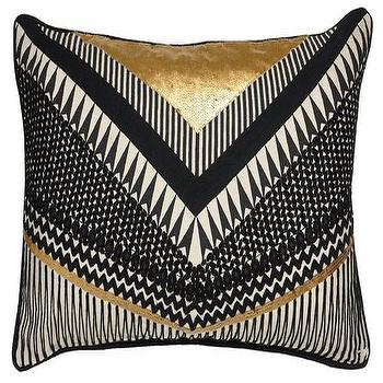 Pillows - Gatsby Black and Gold Pillow design by Villa Home | Burke Decor - black white and gold pillow, twenties style pillow, black and gold geometric pillow,