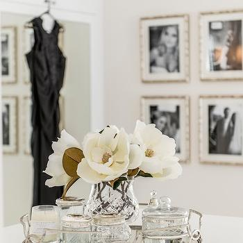 Veranda House - closets - mirrored tray, round mirrored tray, arteriors tray, closet island, walk in closet, glam closets, glamorous closets,