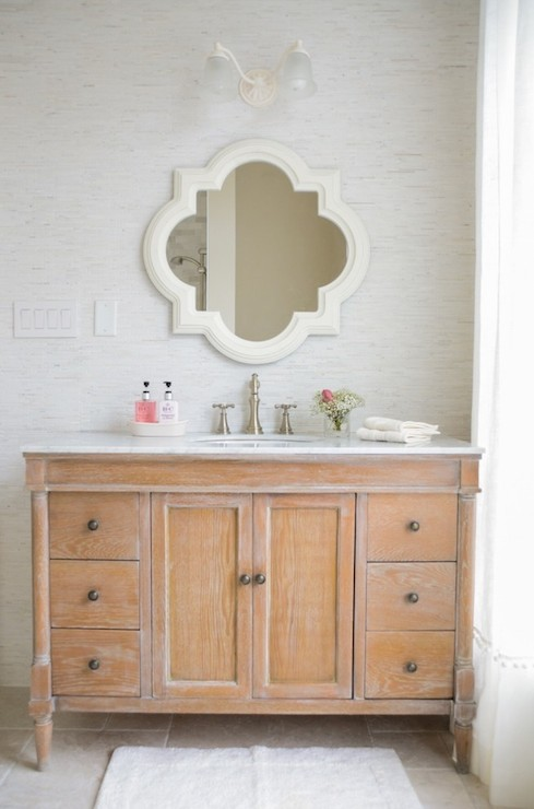 LVZ Design - bathrooms - quatrefoil mirror, homesense mirror, white quatrefoil mirror, quatrefoil vanity mirror, distressed vanity, distressed washstand, distressed sink vanity, white marble countertop, satin nickel faucet, white curtains with pom pom trim, extra wide vanity, extra wide single vanity,