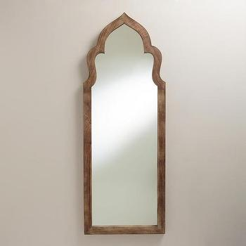 Mirrors - Gray Sahar Arch Mirror | World Market - arched moroccan mirror, wood framed moroccan mirror, moorish arch mirror,