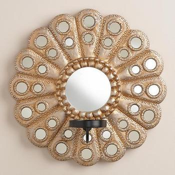 Art/Wall Decor - Round Metallic Mirror Sconce Candleholder | World Market - mirrored candle sconce, peacock mirror candle sconce, scalloped mirrored candle sconce,