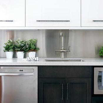Style at Home - kitchens - two tone cabinets, two tone kitchen cabinets, white lacquer cabinets, white lacquered cabinets, white lacquer kitchen cabinets, white lacquered kitchen cabinets, espresso lower cabinets, espresso cabinets, espresso kitchen cabinets, white quartz countertops, stainless steel backsplash, stainless steel kitchen backsplash, white upper cabinets dark lower cabinets, under the counter microwave,