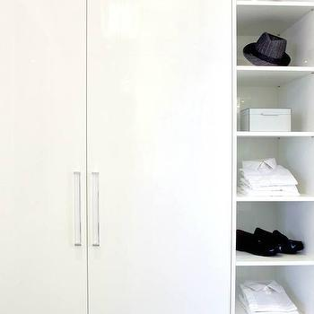 Tomas Pearce Interior Design - closets - built ins, closet built ins, built in wardrobe, built in wardrobe cabinets, lucite pulls, lucite hardware, built in cubbies, closet cubbies, built in closet cubbies,