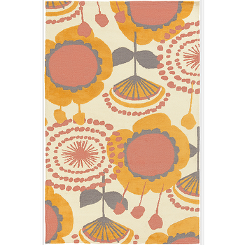 Rugs - Abigail Butter, Coral, & Lemon Kids Rug design by Surya I Burke Decor - coral pink and yellow rug, pink and yellow floral rug, pink and yellow kids rug, coral pink and yellow kids rug,
