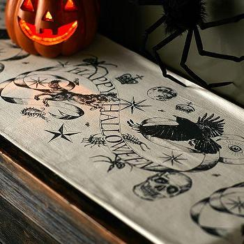 Miscellaneous - Medieval Masquerade Print Table Runner | Pottery Barn - halloween table runner, skull print table runner, happy halloween table runner,