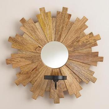 Art/Wall Decor - Sunburst Wood Mirror Sconce Candleholder | World Market - sunburst candle sconce, wood and mirror candle sconce, wooden sunburst candle scone, sunburst mirror candle sconce,