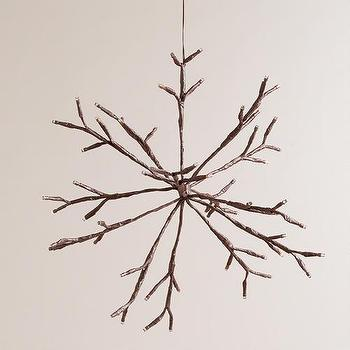 Miscellaneous - LED Snowflake Battery-Operated Hanging Light | World Market - snowflake hanging light, snowflake shaped light, snowflake led light,