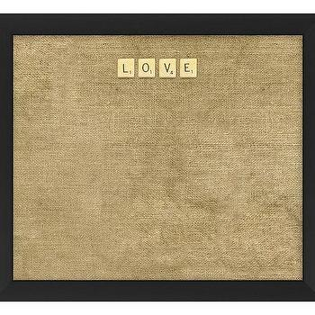 Art/Wall Decor - LOVE Scrabble Corkboard | Pottery Barn - burlap corkboard, scrabble tile corkboard, framed burlap corkboard,