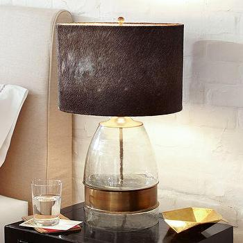 Lighting - Bailey Bedside Lamp Base | Pottery Barn - brass and glass lamp, brass banded lamp, glass lamp with brass accent,