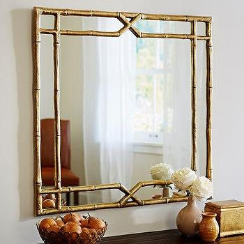 Mirrors - Jasmine Bamboo Mirror | Pottery Barn - gold bamboo mirror, gilt bamboo mirror, gold faux bamboo mirror, faux bamboo mirror,