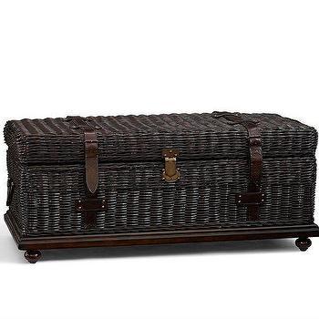 Storage Furniture - Hallock Trunk | Pottery Barn - dark rattan trunk, woven rattan trunk, rattan storage trunk,