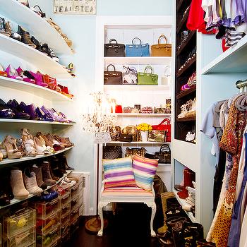 closets - shelves for shoes, shoe shelves, curved shoe shelves, stacked shoe shelves, curved shelves for shoes, curved shoe shelves, stacked shelves for shoes, acrylic shoe box, clear shoe box, clear acrylic shoe box, shoe storage ideas, floating shoe shelves, floating shelves for shoes, built in shoe shelves, built in shelves for shoes, bag closet, handbag closet, purse closet, designer bags,