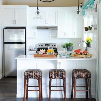 Seagrass Backless Barstools, Cottage, kitchen, Benjamin Moore Simply White, Maria Killam Interior Design