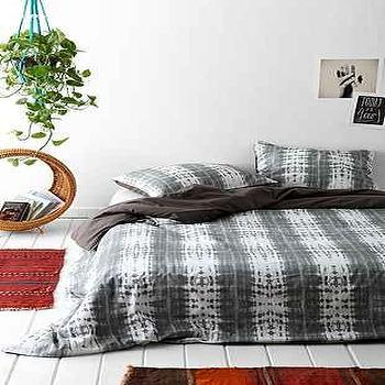Bedding - Magical Thinking Dye-Stripe Duvet Cover I Urban Outfitters - gray tie dye duvet, gray tie dye bedding, tie dye bed linens,