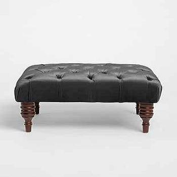 Seating - Halliday Ottoman I Urban Outfitters - gray tufted ottoman, tufted ottoman with turned legs, gray button tufted ottoman,