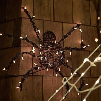 Miscellaneous - Lit Black Spiders | Pottery Barn - spider halloween decor, outdoor halloween decor, lit spider wall decor,