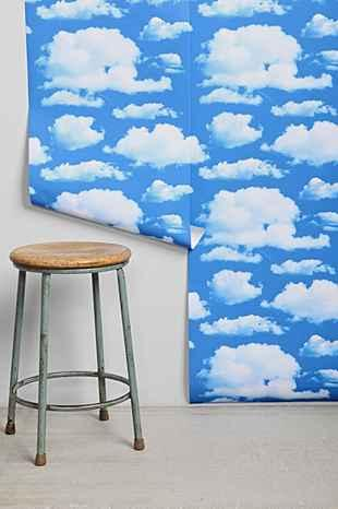 walls need love clouds removable wallpaper i urban outfitters. Black Bedroom Furniture Sets. Home Design Ideas