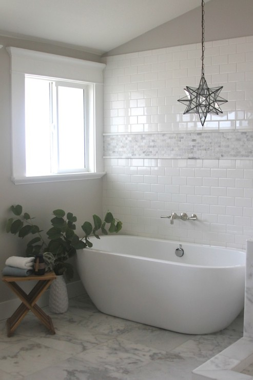 Mosaic Marble Accent Tiles Transitional Bathroom